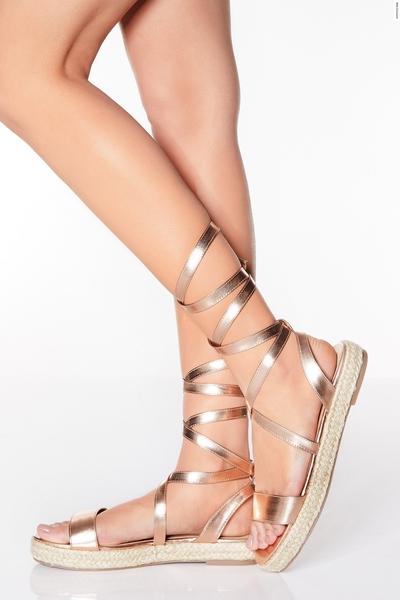 Rose Gold Up Flatform Sandals